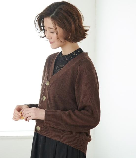 ロペピクニック   【WEB限定】リネンVネックカーディガン - 1