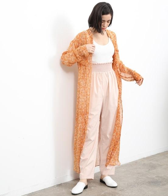 サロン アダム エ ロペ ウィメン   オレンジプリントロングシャツドレス - 10