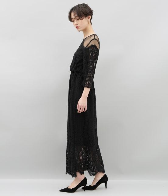 アダム エ ロペ ファム | チュール×パネルレースドレス - 4