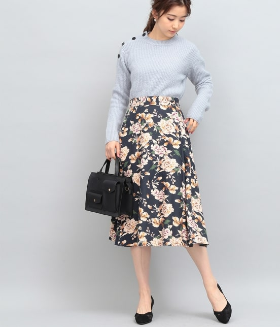 ビス | ピーチ起毛タックフレアースカート - 9