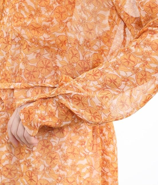 サロン アダム エ ロペ ウィメン   オレンジプリントロングシャツドレス - 5