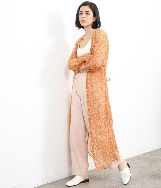 サロン アダム エ ロペ ウィメン   オレンジプリントロングシャツドレス - 12
