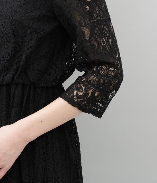 アダム エ ロペ ファム | チュール×パネルレースドレス - 8