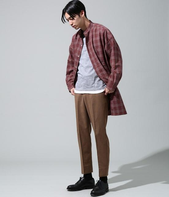 ジュンレッド | 【smart 10月号掲載商品】チェックバンドカラーマキシシャツ - 10