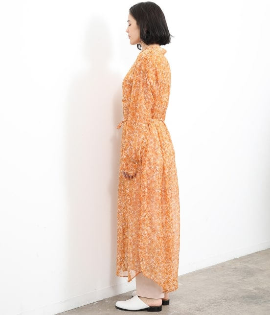 サロン アダム エ ロペ ウィメン   オレンジプリントロングシャツドレス - 2