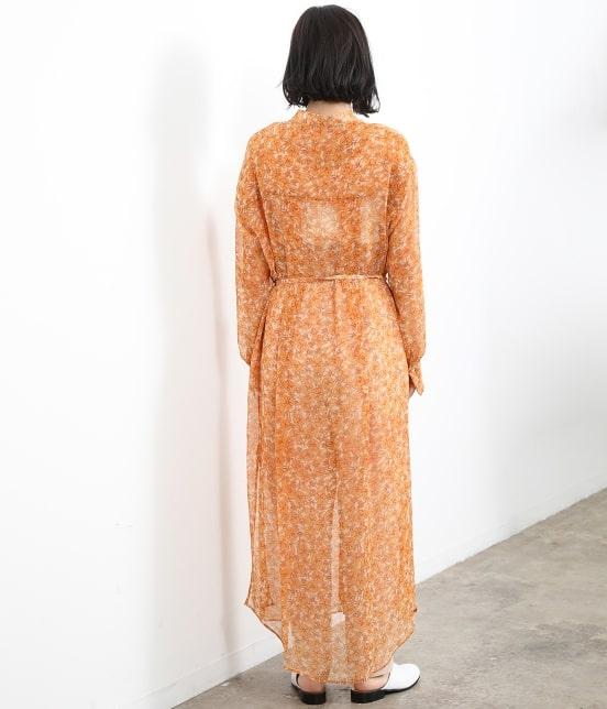 サロン アダム エ ロペ ウィメン   オレンジプリントロングシャツドレス - 3