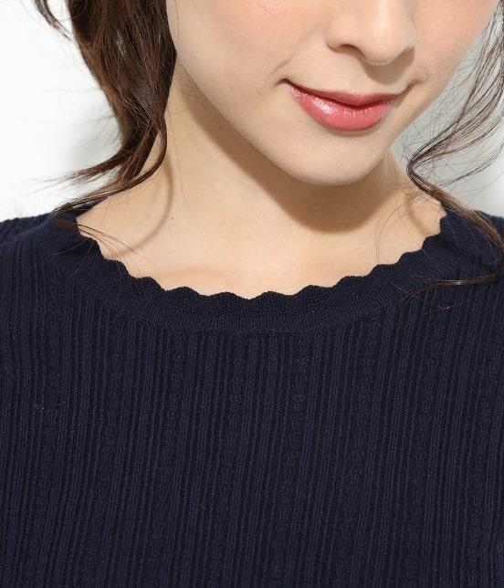 ビス | 【ドラマ着用】変形リブスカラップ衿ニットプルオーバー - 3