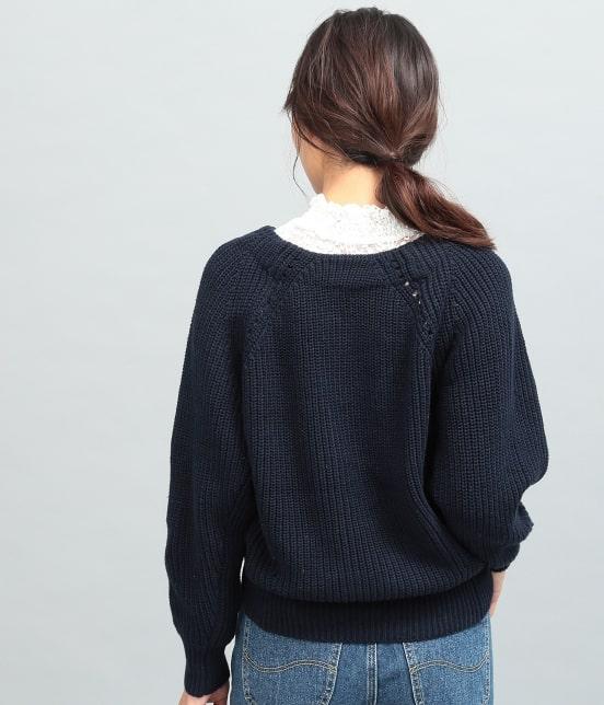 ビス | 畦編みコクーンショートカーディガン - 2