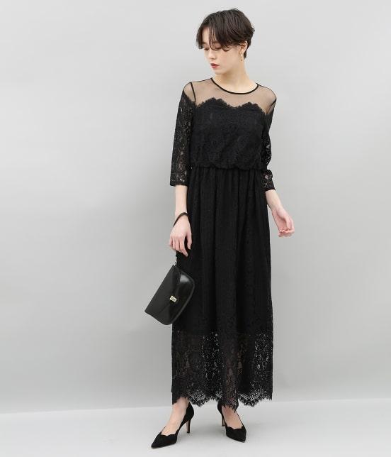 アダム エ ロペ ファム | チュール×パネルレースドレス - 1