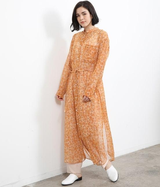 サロン アダム エ ロペ ウィメン   オレンジプリントロングシャツドレス - 9