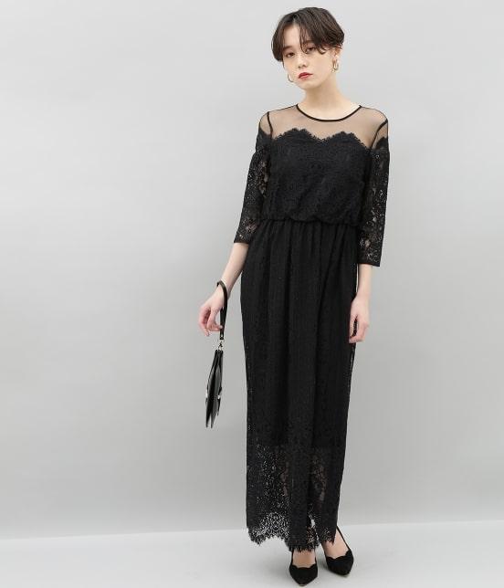 アダム エ ロペ ファム | チュール×パネルレースドレス - 15