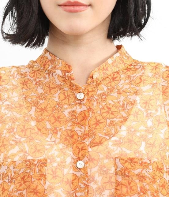 サロン アダム エ ロペ ウィメン   オレンジプリントロングシャツドレス - 4