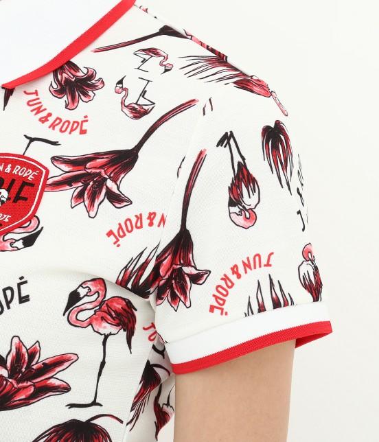ジュン アンド ロペ | 【TIME SALE】【UV】【遮熱クーリング】フラミンゴ柄プリントポロシャツ - 6