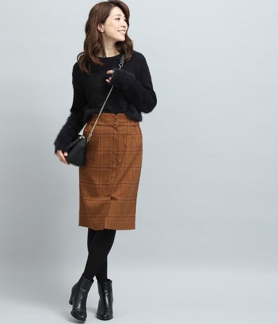 ビス | ヘリンボーンチェックタイトスカート - 12