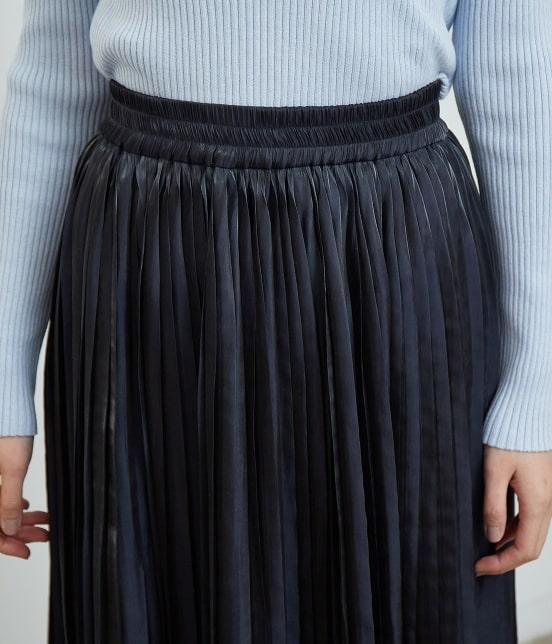 ロペピクニック | 【WEB限定カラー:ネイビー】シャイニープリーツスカート - 3