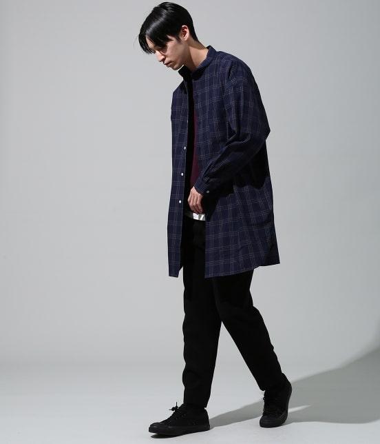 ジュンレッド | 【smart 10月号掲載商品】チェックバンドカラーマキシシャツ - 8