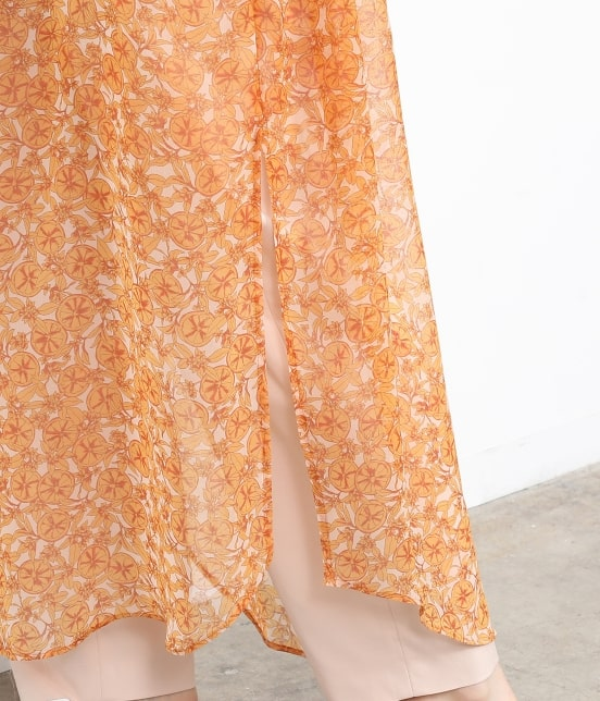 サロン アダム エ ロペ ウィメン   オレンジプリントロングシャツドレス - 7
