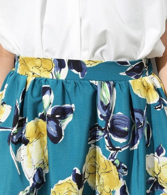 ビス   アートプリントギャザースカート - 4