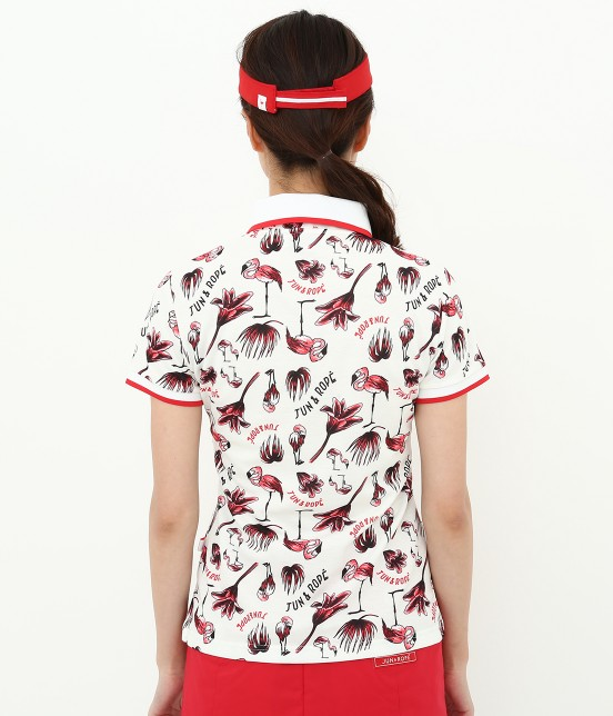 ジュン アンド ロペ | 【TIME SALE】【UV】【遮熱クーリング】フラミンゴ柄プリントポロシャツ - 2
