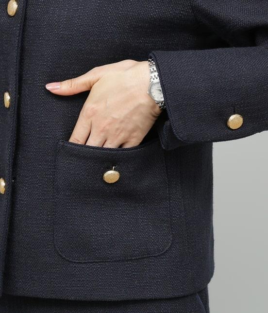ロペ | 【セットアップ対応】【SS/S/Lサイズあり】スラブツィードノーカラーポケットジャケット - 9