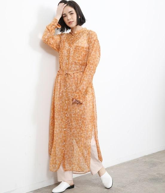 サロン アダム エ ロペ ウィメン   オレンジプリントロングシャツドレス - 1