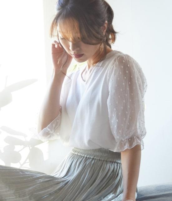 ビス | 【泉里香さん着用】【前後2WAY】袖ドットチュールプルオーバー - 16