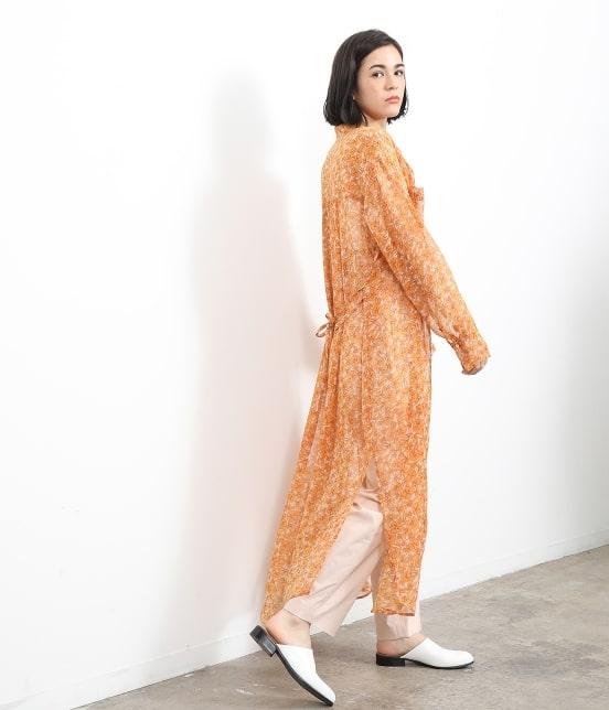 サロン アダム エ ロペ ウィメン   オレンジプリントロングシャツドレス - 8